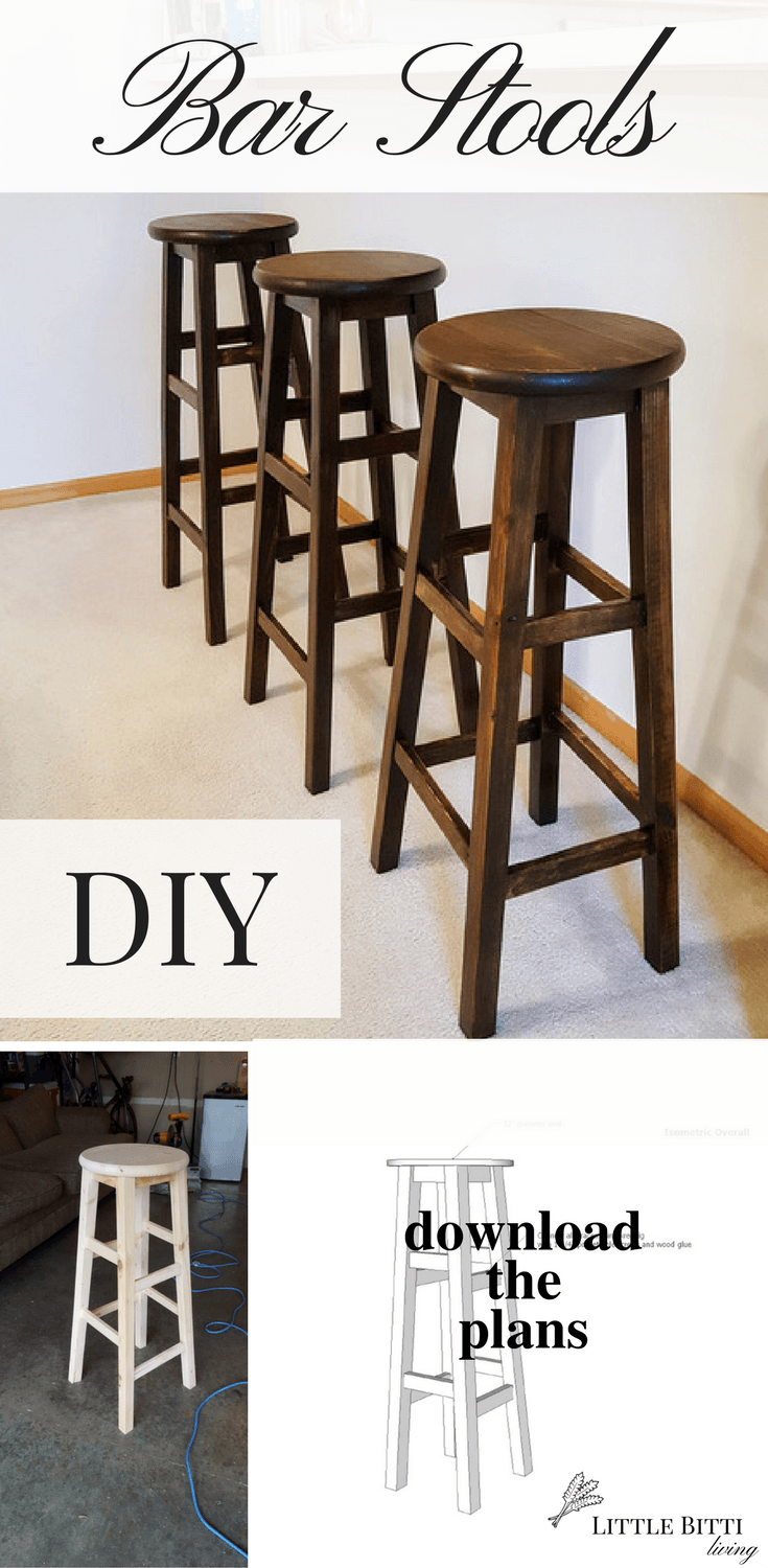 Build Your Own Round Top Bar Stools With This Simple Step By Step Diy Stool Tutorial Includes A Free Pdf Download Of The Plans Bar Stools Diy Stool Stool