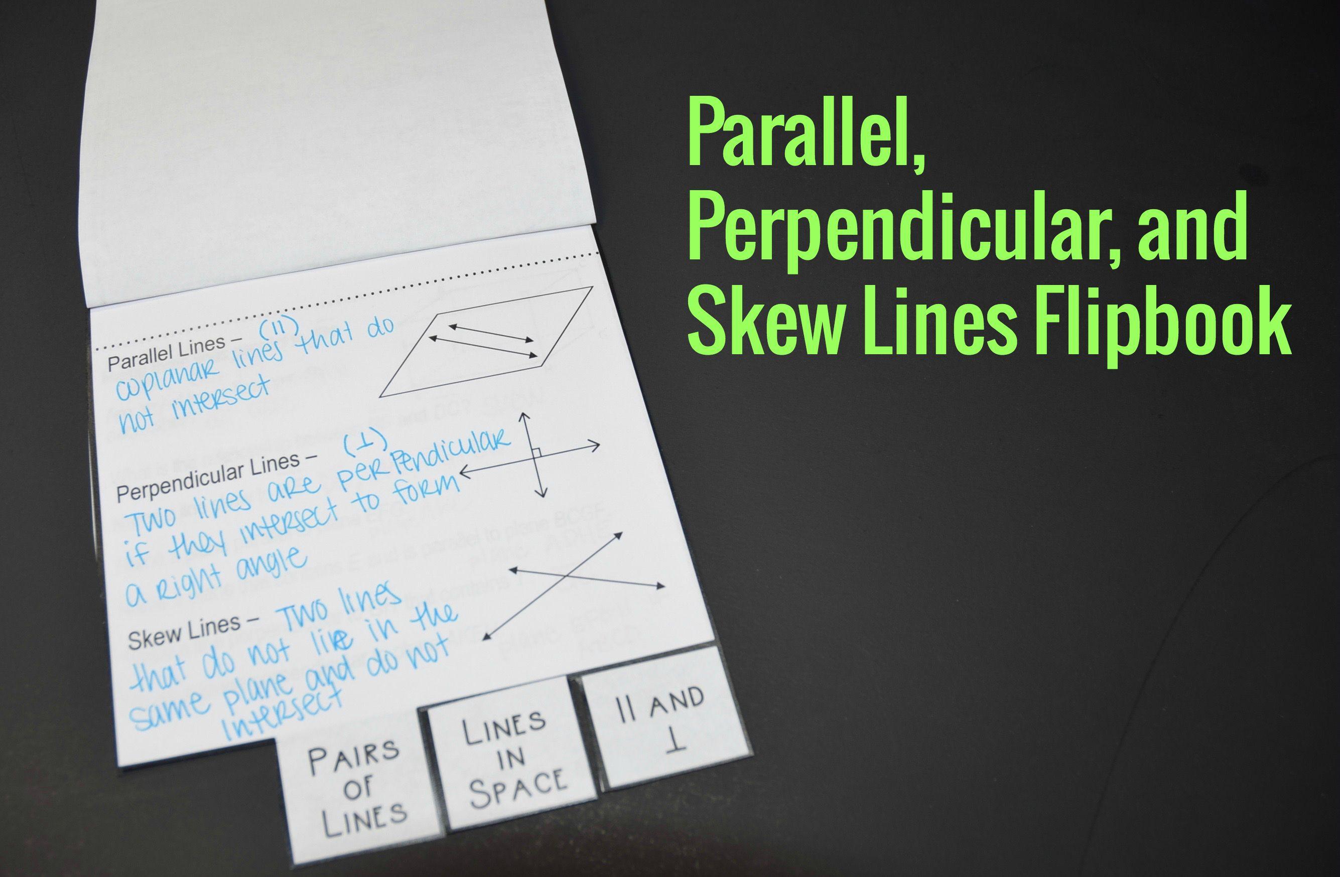 Parallel Perpendicular And Skew Lines Flipbook