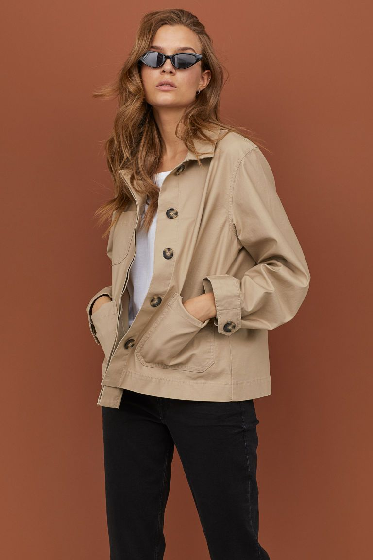 Lightweight Cotton Jacket Beige Ladies H M Us 1 Jackets Cotton Jacket Piece Of Clothing [ 1152 x 768 Pixel ]