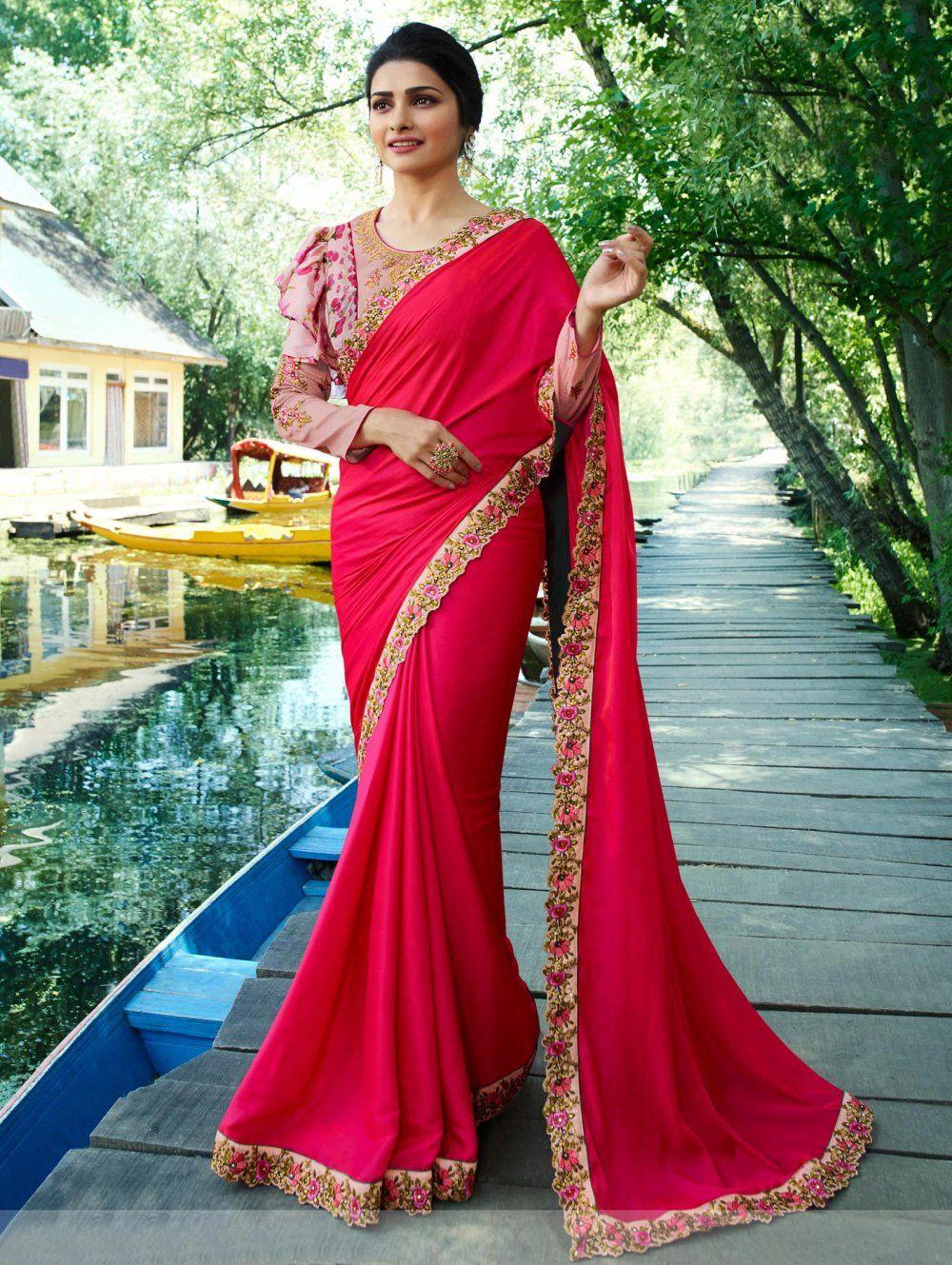3ce244767ef Prachi Desai Rani Pink Satin Silk Plain Saree With Designer Blouse ...