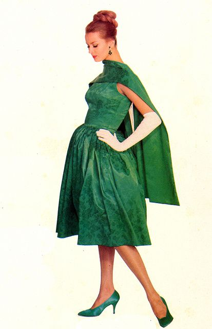 1960 Celanese Fashion Style Couture Designer Green