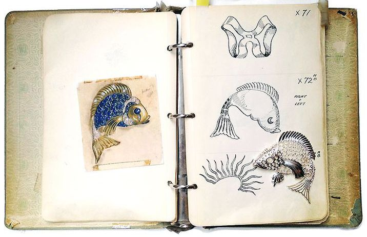 Seaman Schepps - Bijoux - Broche 'Poisson' - Or, Saphirs et Diamants - Croquis