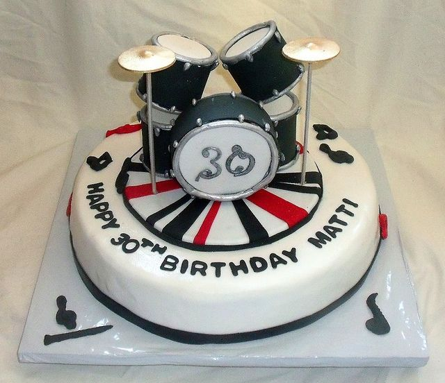 Edible Drum Set On Music Themed Fondant Birthday Cake In 2018