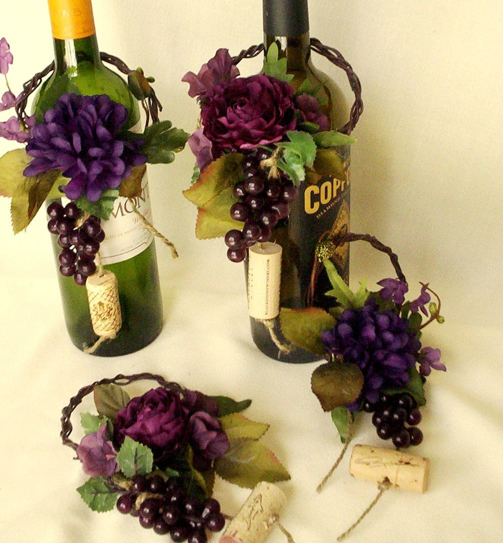 Wine Themed Kitchen Wedding Centerpieces Wine Bottle Toppers Set Of 4 Reception Bridal
