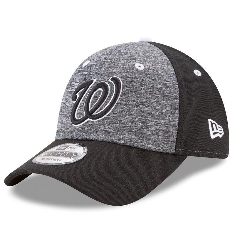 Washington Nationals New Era The League Shadow 2 9FORTY Adjustable Hat - Heathered Gray/Black