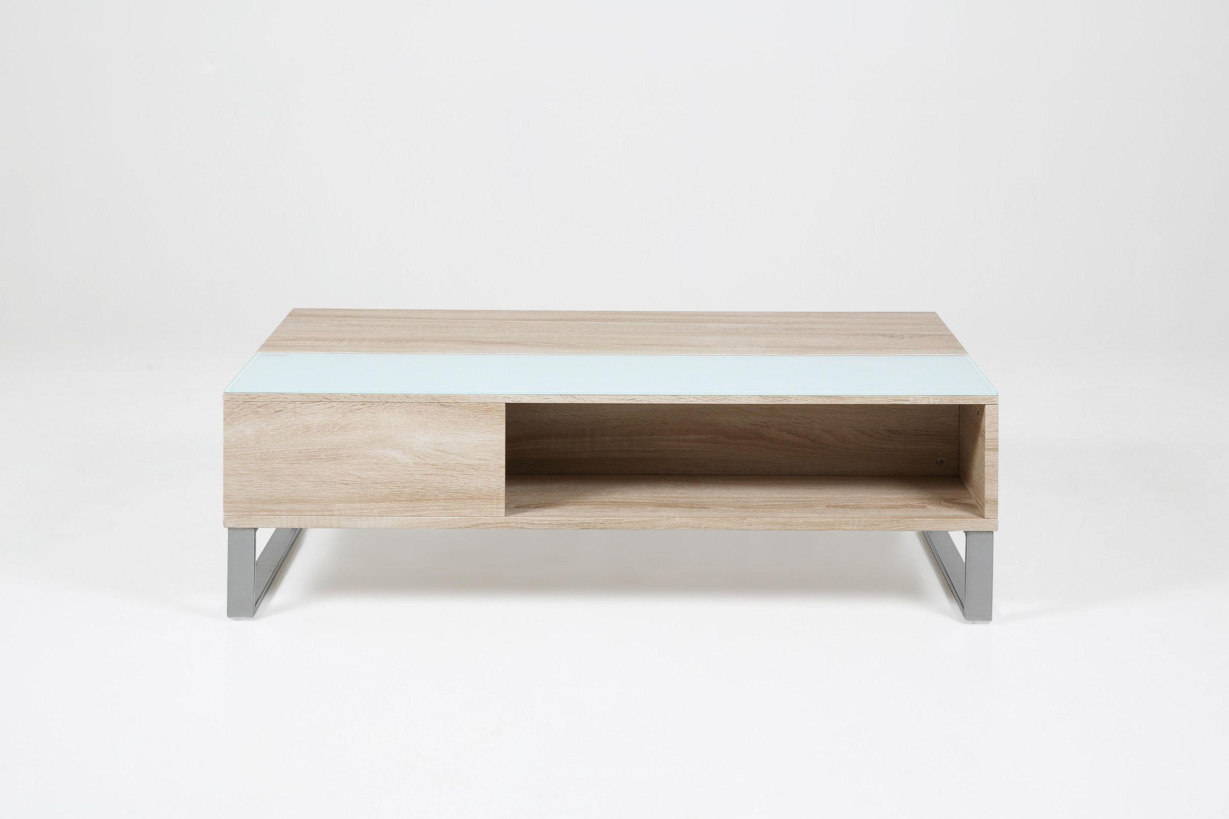 Couchtisch Glas Weiss/ Sonoma Eiche Woody 16900205 modern