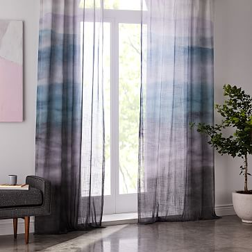Printed On Sheer Cotton That Beautifully Filters Light Our Painted Ombre Curtain S Dip Dye Design Was Inspired Ombre Curtains Home Decor Blue Window Curtains