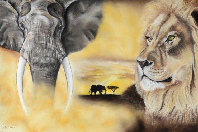 Dessin d 39 un l phant et d 39 un lion r alis au pastel sec sur pastel mat drawing of an elephant - Dessin d un elephant ...