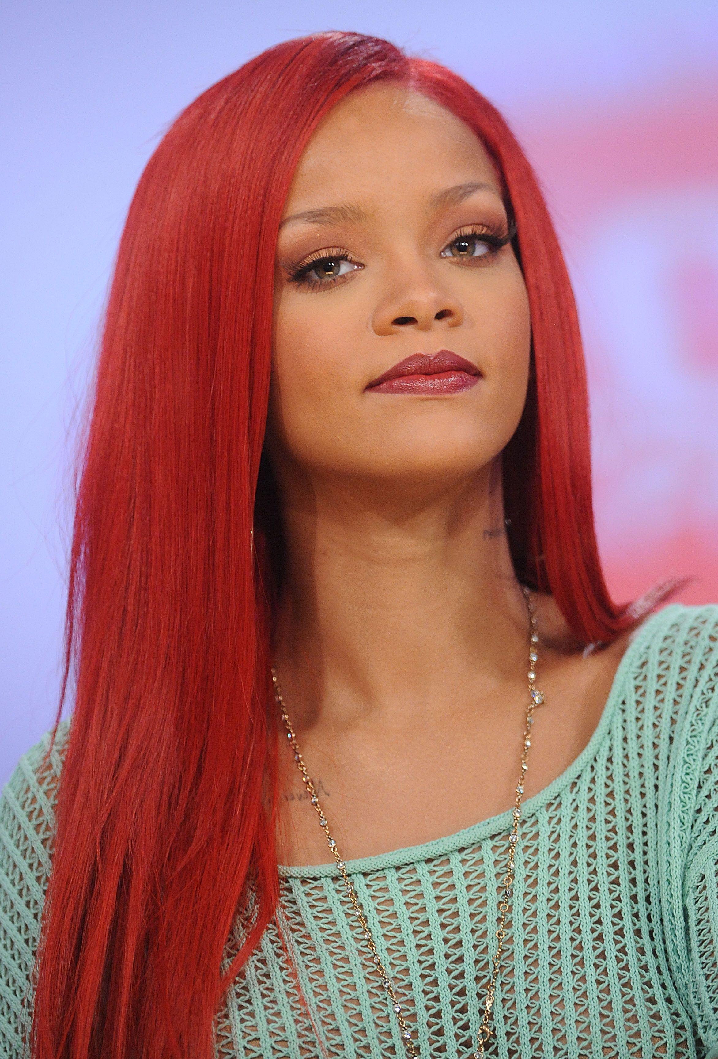 Rihanna | Rihanna red hair, Red hair color shades, Rihanna