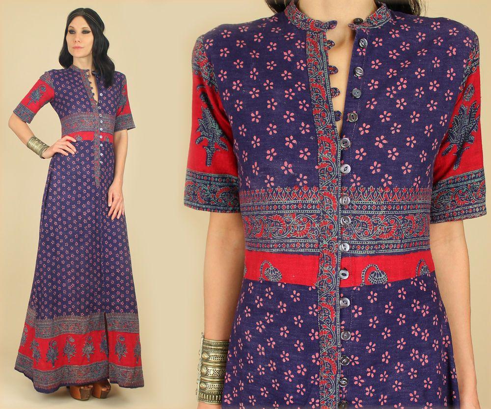 40d105a7f3 VtG 60's 70's Indian Cotton Hand Block Printed Maxi Dress India HiPPiE BoHo  M #SunDeepMadeinIndia