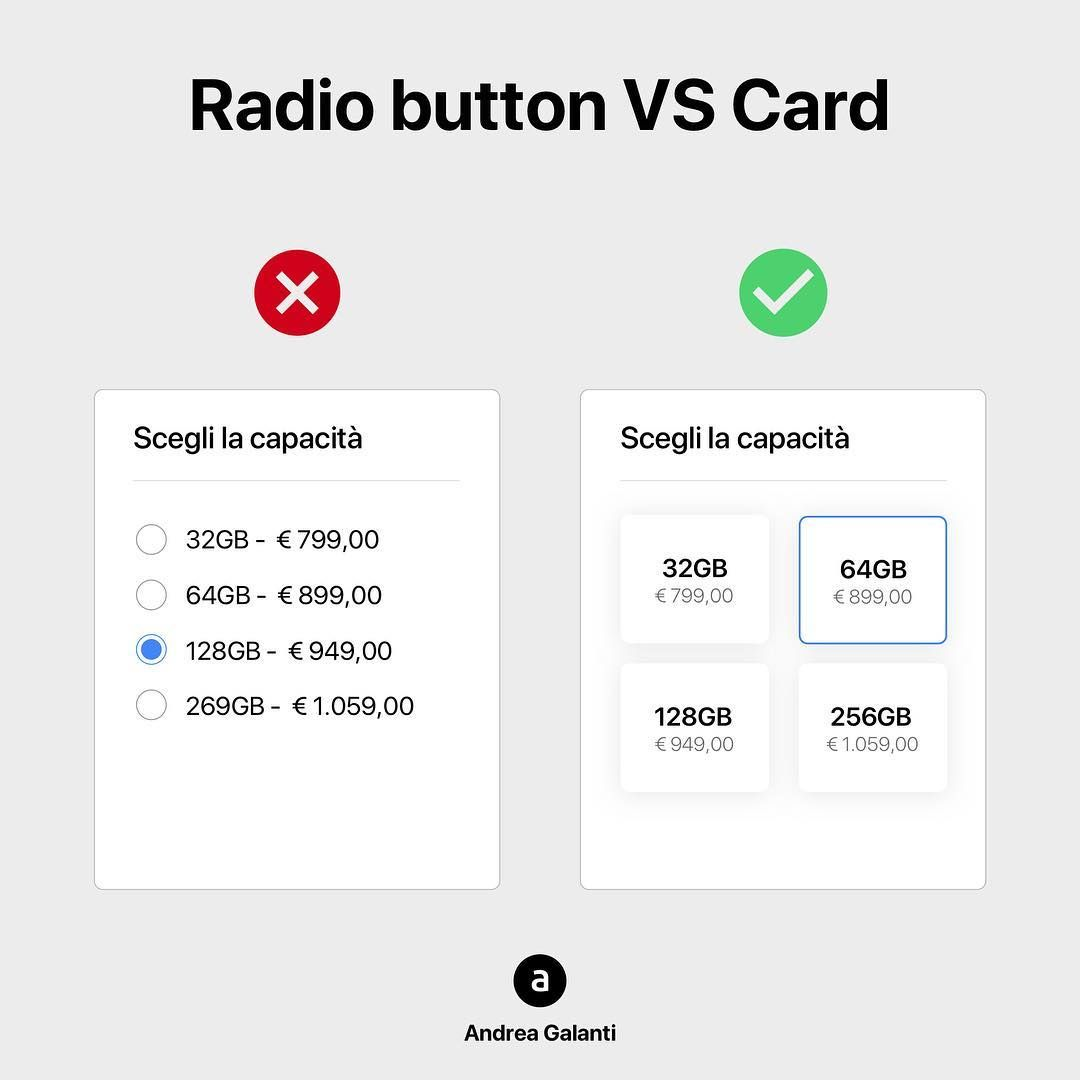 """Andrea Galanti on Instagram: """"Radio Button VS Card Which do you prefer?  #ui #ux #uiux #uidesign #uxdesign #interactiondesign #uiinspiration #designinspiration…"""""""