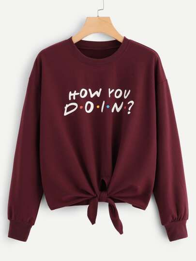 SHEIN Knot Front Slogan Graphic Pullover Source link