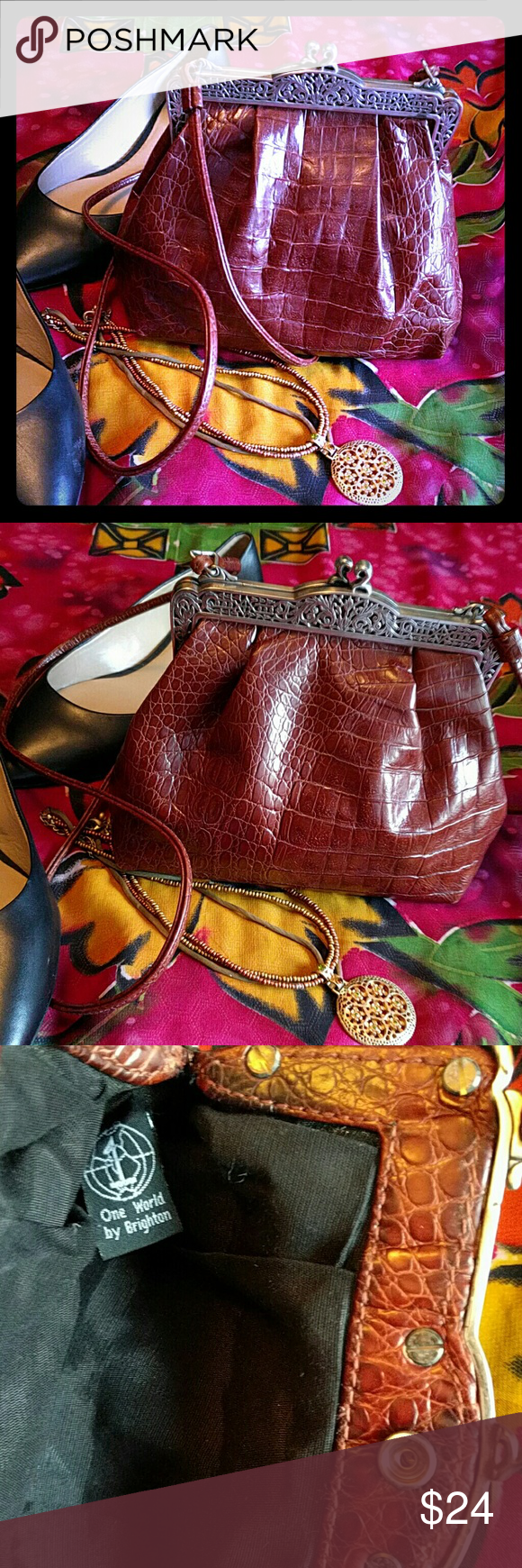 Brighton One World small bag Cute Victorian inspired Brighton faux crocodile purse. Some discoloring  on metal( see pic 4). But otherwise in very good condition. Brighton Bags