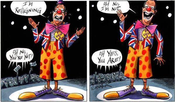 Ukip, Farage, Cartoon, Clown, Unresignation
