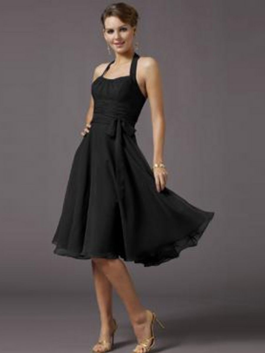 Black dress guest wedding - Sophisticated Black Chiffon Halter Sleeveless Knee Length Wedding Party Dress