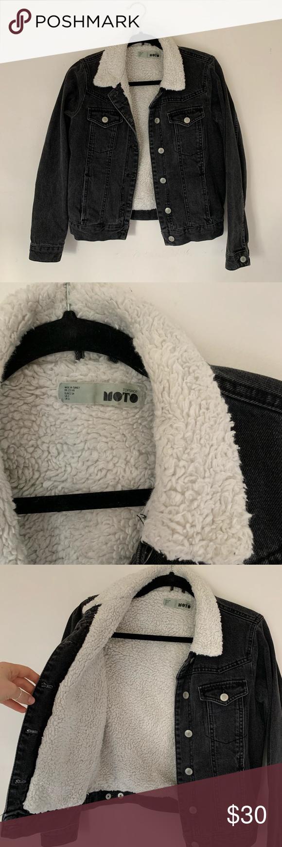 Moto Black Denim and Sherpa Jacket in 2020