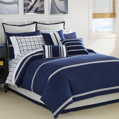 Clearance Nautica Blue Lake Queen Comforter Set By Nautica Bedding The Home Decorating Company With Images Blue Bedding Navy Blue Duvet Cover Blue Bedding Sets