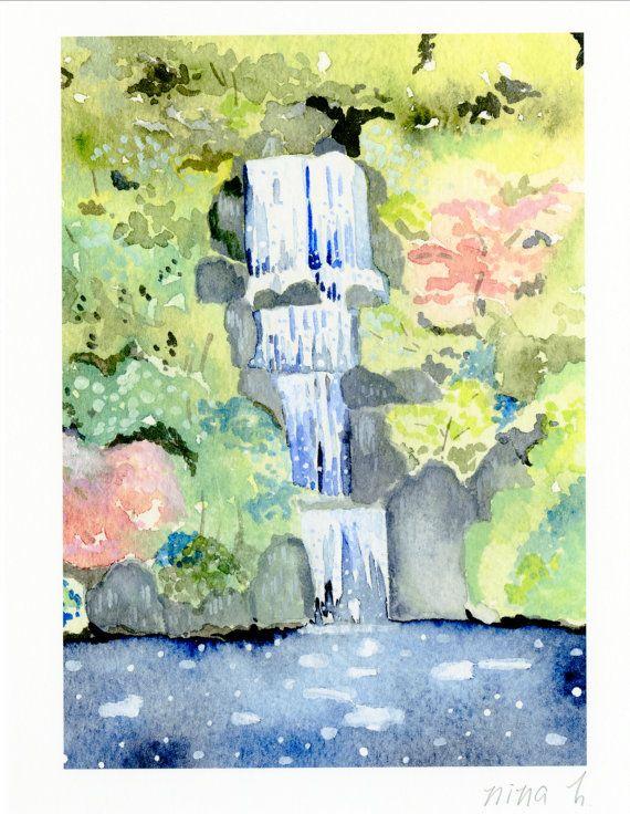 Zen Garden Waterfall Art Japanese Garden Waterall By Ninahuangart