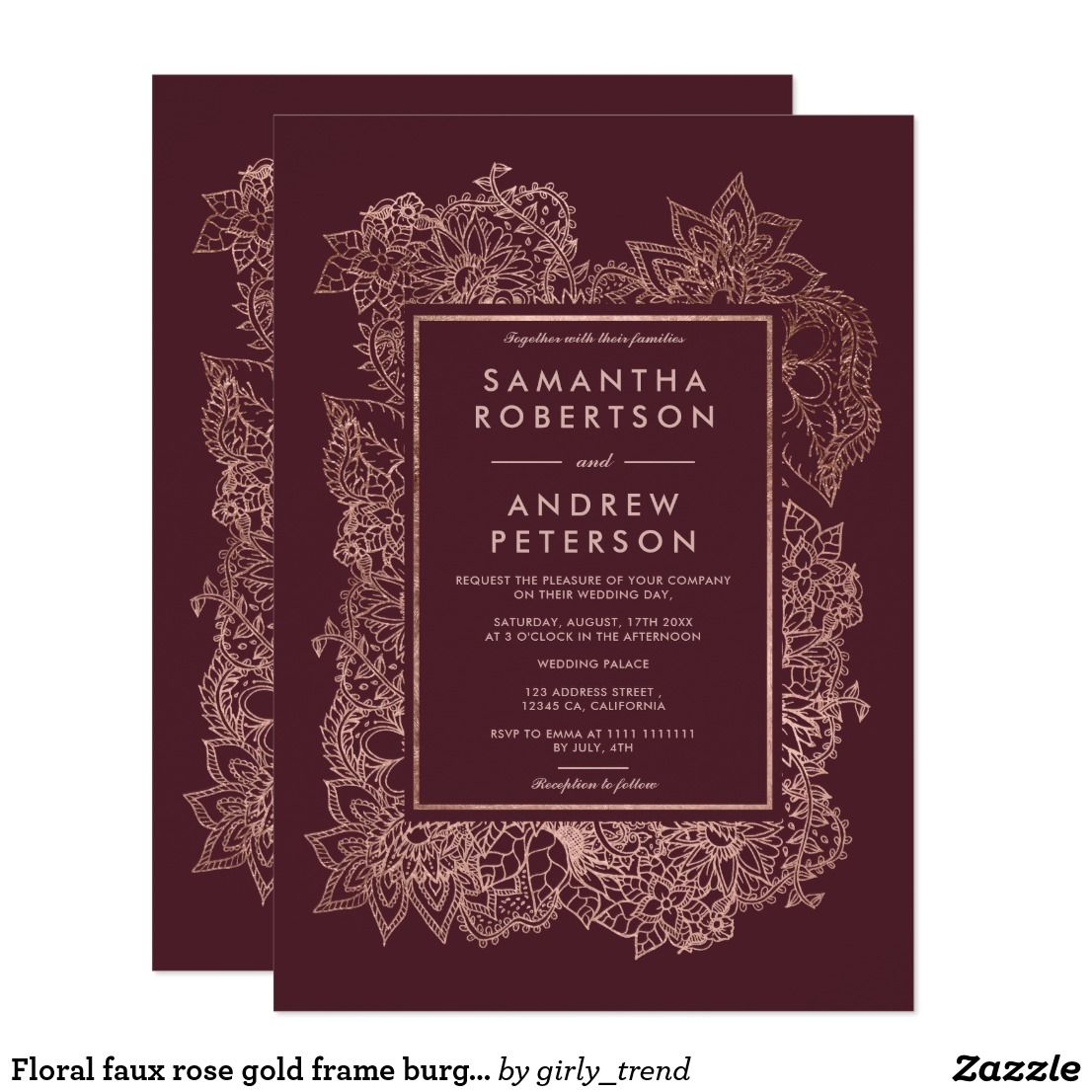 Floral faux rose gold frame burgundy wedding invitation | Wedding ...