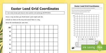 Year 3 Easter Land Grid Coordinates Activity Sheet ...