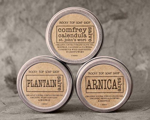 Herbal Aid Kit - Comfrey, Calendula, St Johns Wort Salve, Arnica Salve, Plantain Salve, Body Salve, Drawing Salve, Beeswax Salve