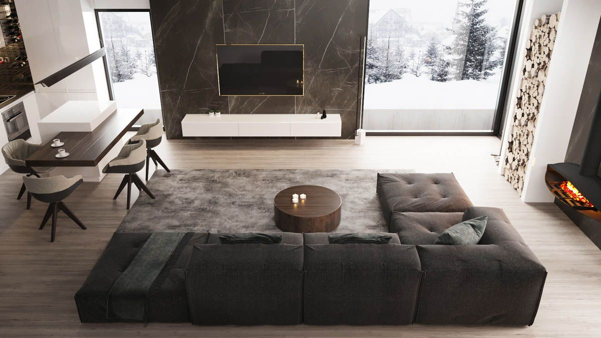 2 Masculine Interiors In Shades Of Grey Black Brown Small Living Room Design Living Room Dining Room Combo Living Room Decor Tv