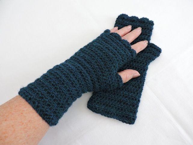 fe78a9de04f Crochet Fingerless Mittens with Alpaca in Petrel Blue £10.00