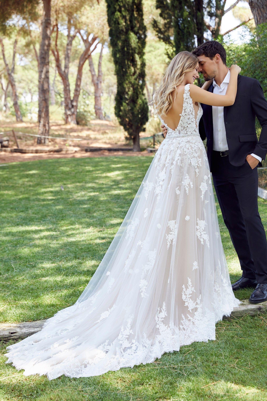 Ronald Joyce Devota Wedding Dress Spring 2020 Collection Wedding Dress Overskirt Wedding Gown Styles Floral Lace Wedding Dress