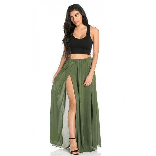 80cd6ab869a44 Double Front Slit Chiffon Maxi Skirt in Olive (Plus Sizes Available) ( 75)  ❤ liked on Polyvore featuring skirts