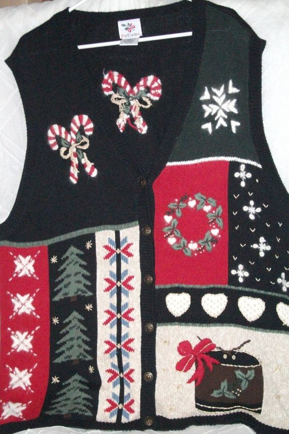 Ugly Christmas Sweater Vest- Black with metal buttons. Size 3X for ...