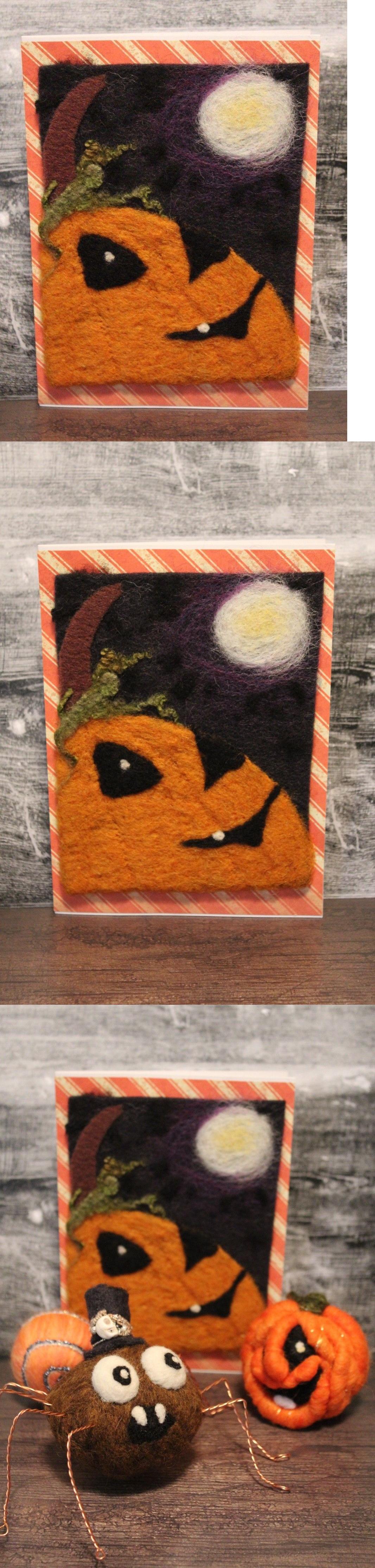 Wool And Needlefelted Items 160664 Halloween Moon Pumpkin Needle