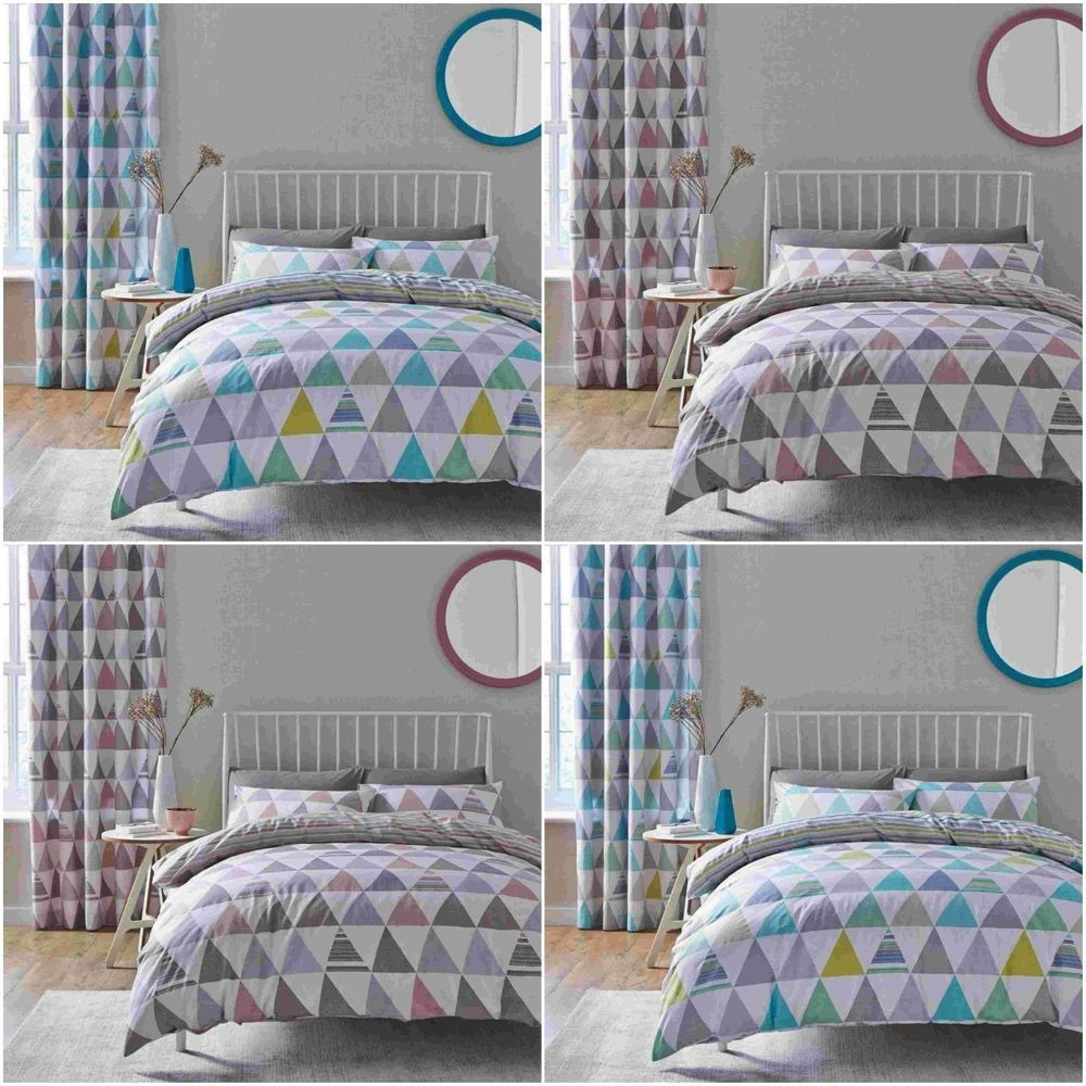 CATHERINE LANSFIELD NEW SCANDI GEO REVERSIBLE DUVET COVER SET SINGLE DOUBLE KING