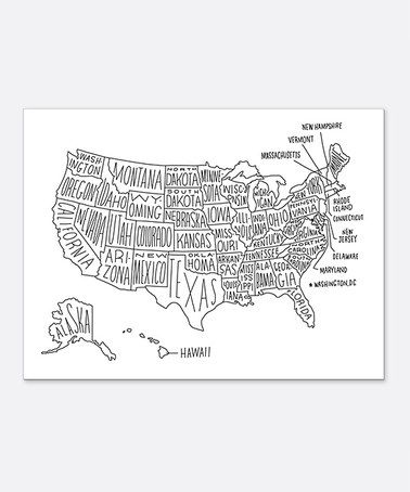 Love this US Map Print on #zulily! #zulilyfinds