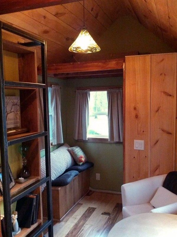 Bookshelf Ladder Couples Tiny House And Wind River Custom Homes Builders Living 204