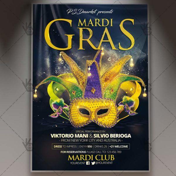 Mardi Gras – Premium Flyer PSD Template. #brasil #brasileiro #brazil #brazilian #carnaval #carnival #carnivalparty #festival #flyer #holiday #latin #mardi #mardigras #mardigra #mask #masks #masquerade DOWNLOAD PSD TEMPLATE HERE: https://www.psdmarket.net/shop/mardi-gras-premium-flyer-psd-template/ MORE FREE AND PREMIUM PSD TEMPLATES: https://www.psdmarket.net/shop/