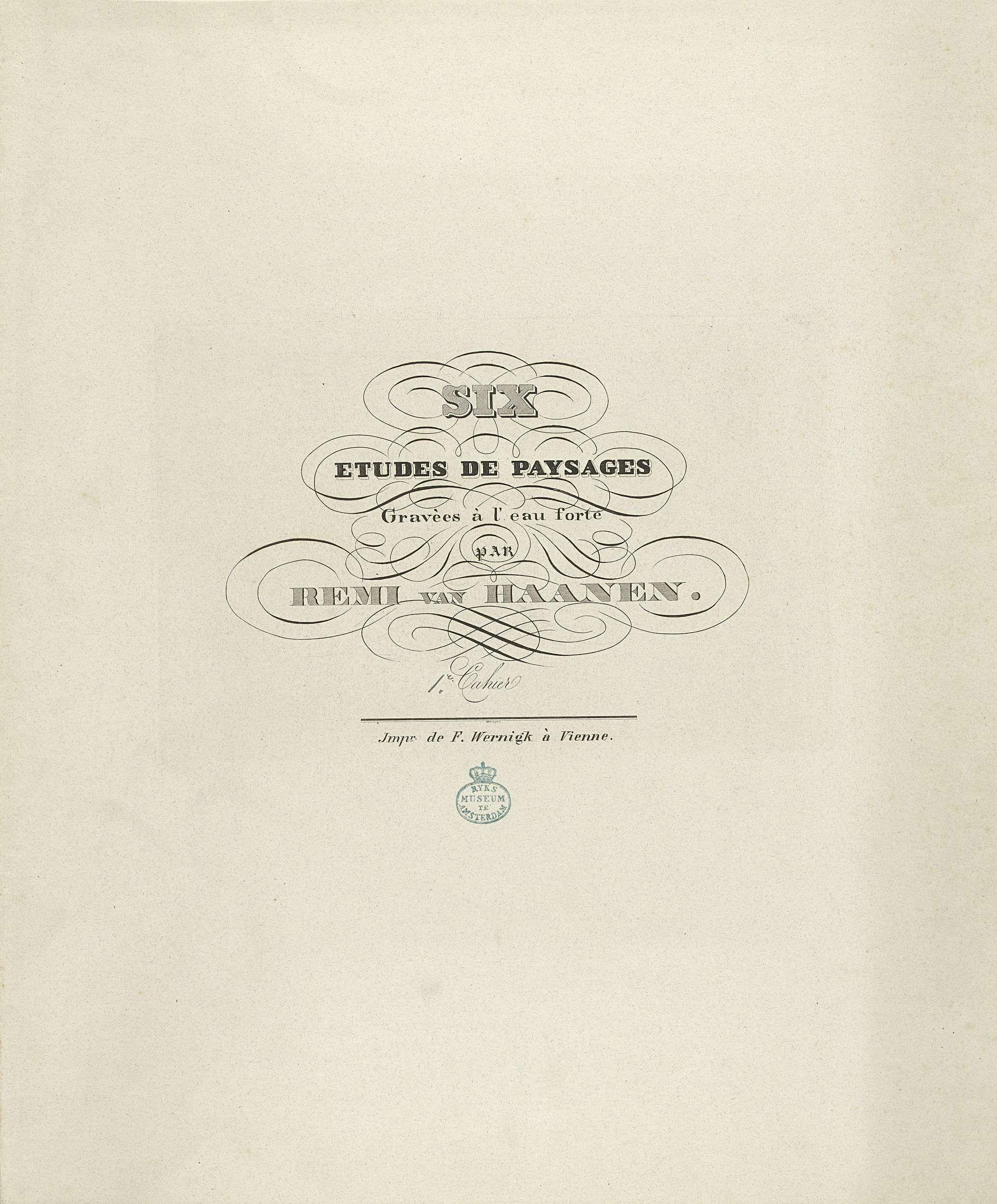 F. Wernigk | Omslag voor zes landschapsstudies door Remi van Haanen, F. Wernigk, Anonymous, 1848 - 1849 |