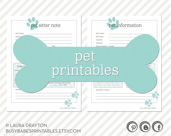 Pet Printables - Pet Information, Pet Sitter Note, Health History ...