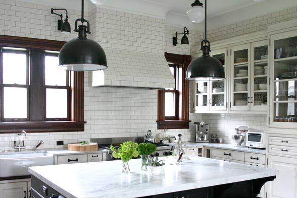 Bright Farmhouse Carrera Marble kitchen. I love this white ...