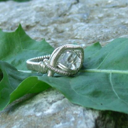 Wire Wrap Ring Herkimer Diamond 925 Sterling Silver by kyndvalley, $40.00