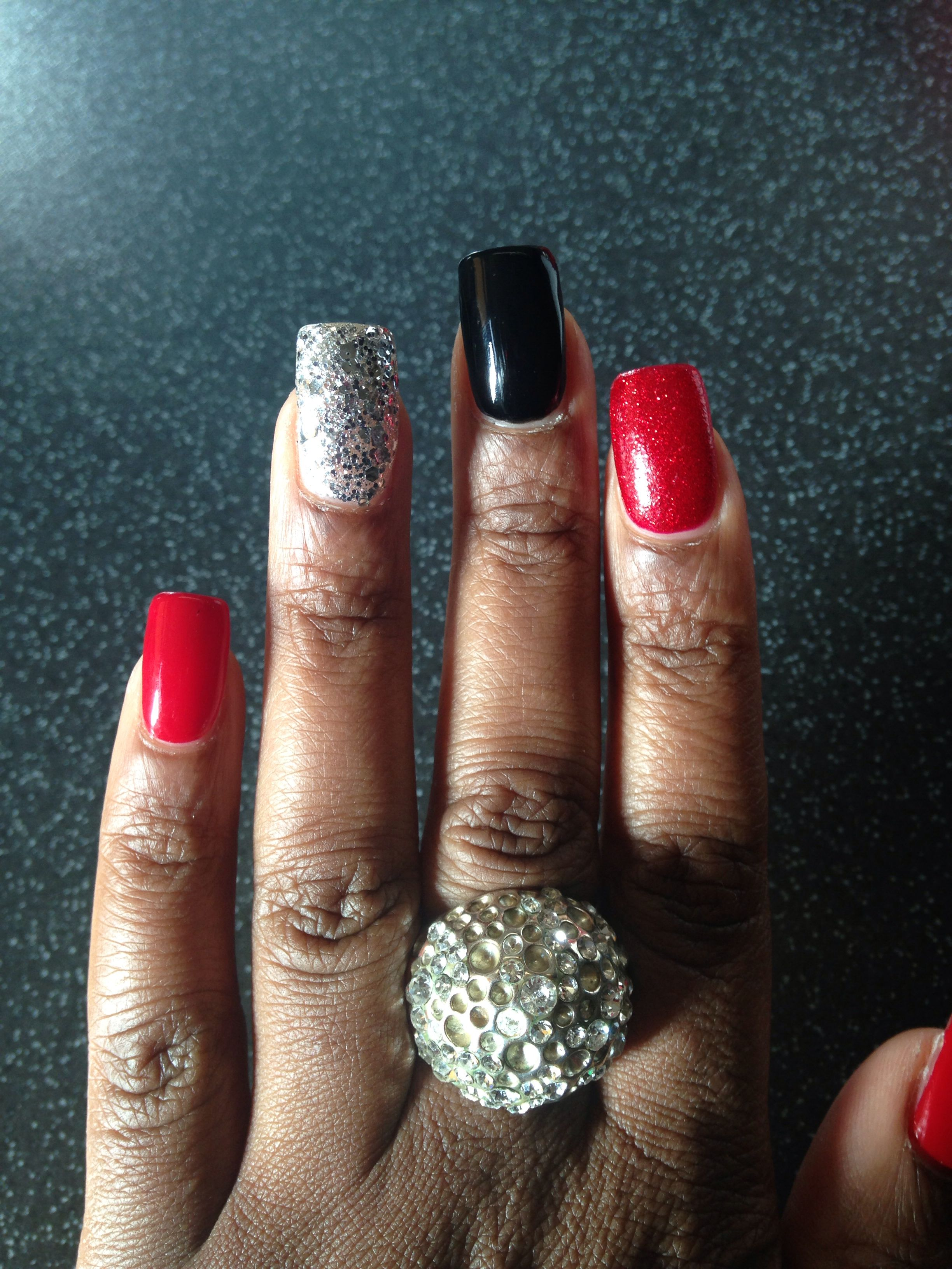Pin By Allie Lambing On Nails Red And Silver Nails Dance Nails Red Nails