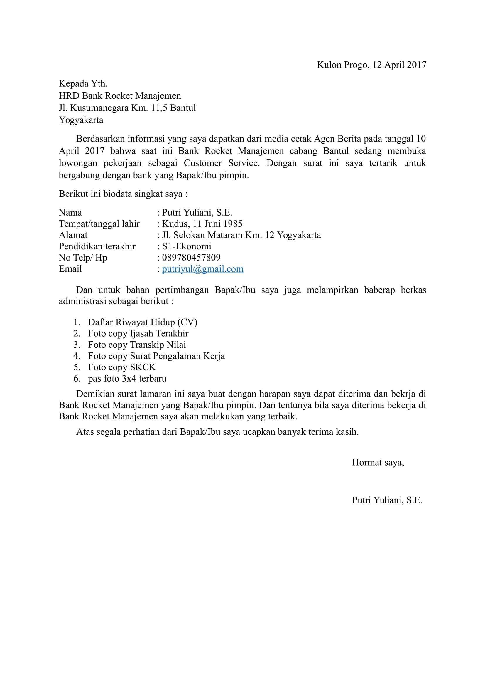 Contoh Surat Lamaran Kerja Di Bank Singkat Surat, Resume