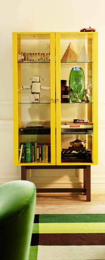 Stockholm Yellow Glass Door Cabinet With Solid Ash Legs Home Ikea