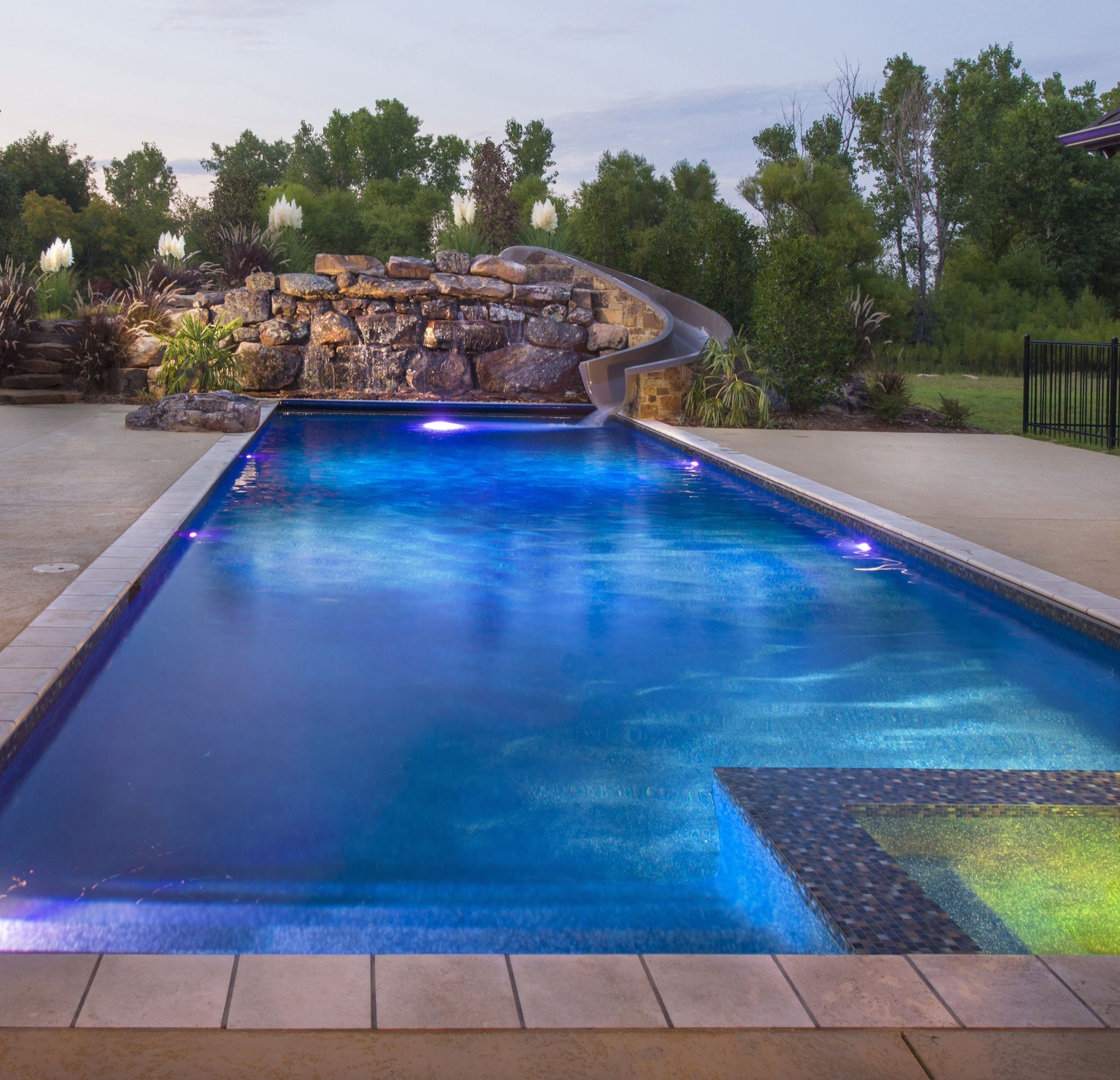 Beautiful, Modern Pool with L.E.D. features, Spill-Over ... Swimming Pool Designs With Slides