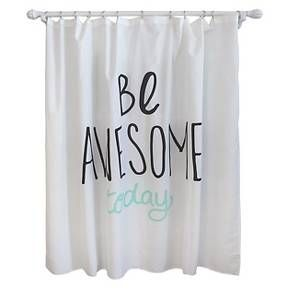 Be Awesome Shower Curtain Lime