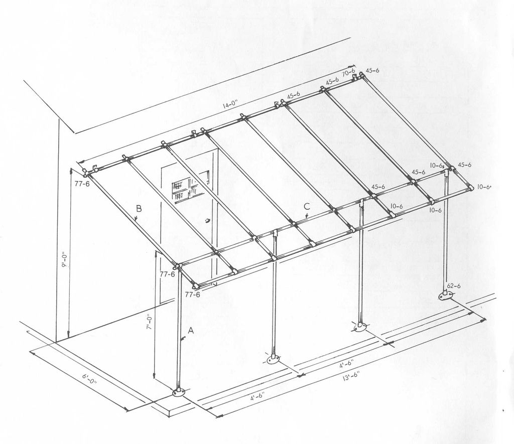 Build A Simple Awning Frame With Kee Klamp Fittings Pomys Y Rh Pinterest  Com Patio Roof Framing Details Framing A Flat Roof Patio