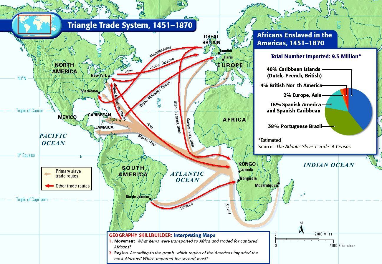 Triangle Slave Trade Map 14th Century