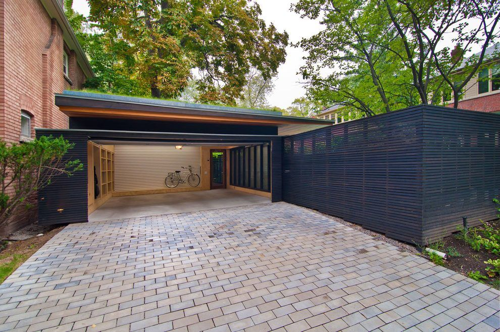 Mid Century Modern Courtyard With Modern Courtyard Carport With Storage Modern Carport