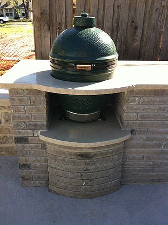 Nifty Built In Stand For Your Egg Big Green Egg Outdoor Kitchen Outdoor Kitchen Patio Backyard Kitchen