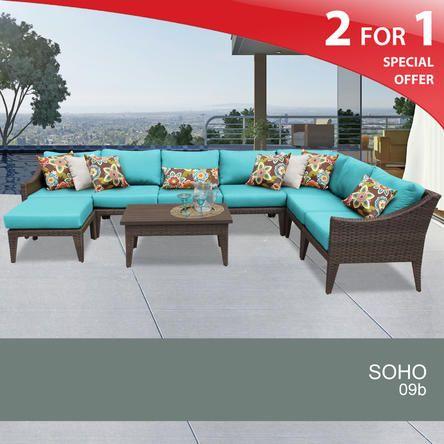 TK Classics Soho 9 Piece Outdoor Wicker Patio Furniture Set 09b 2 Yr Fade  Warranty