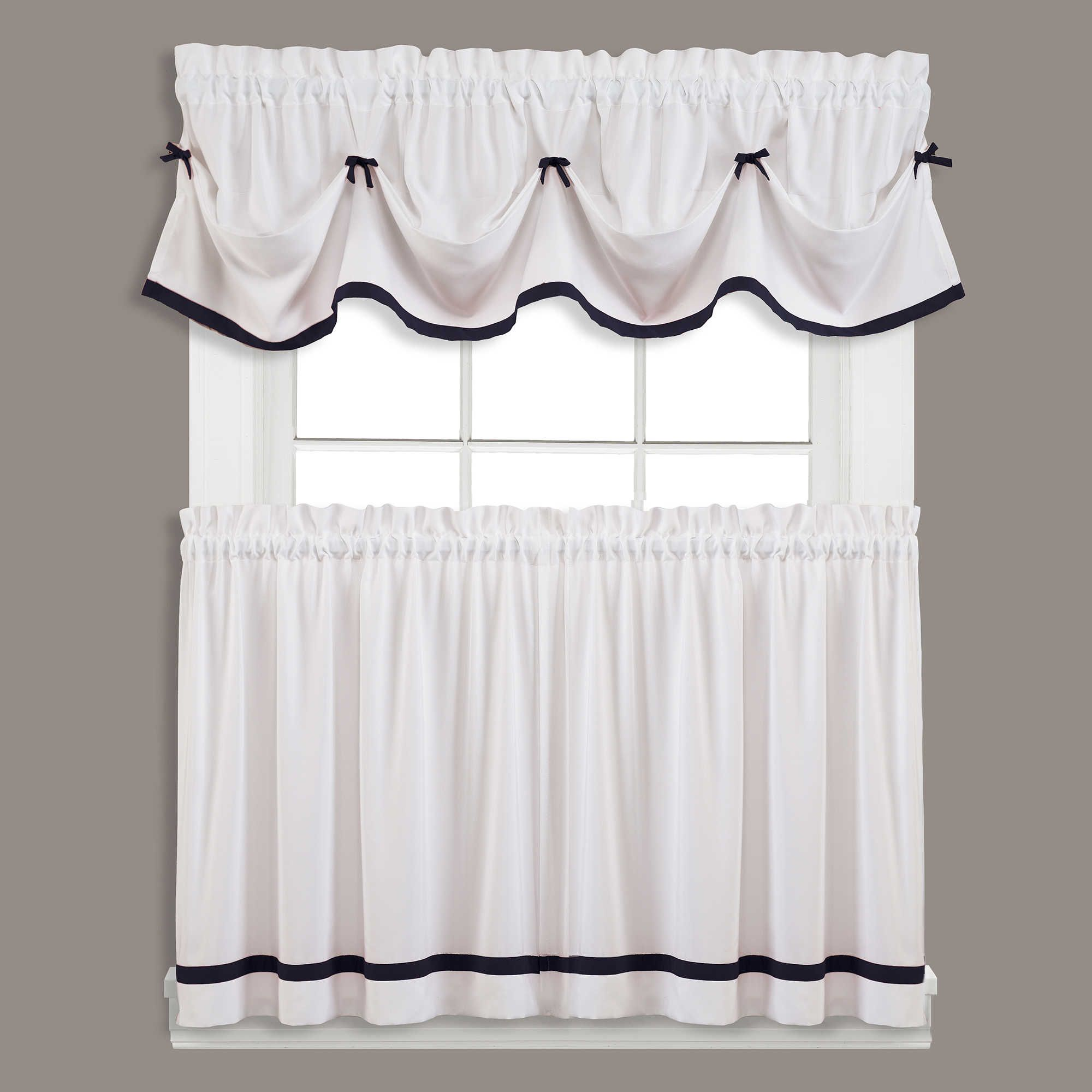 Kate Window Curtain Panel And Valance White Kitchen Curtains Valance Black White Curtains